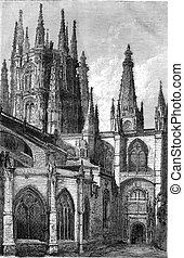Burgos Cathedral, facade of the Pellejeria, vintage...