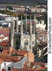 Burgos Cathedral visible within the city. Aerial view of the...