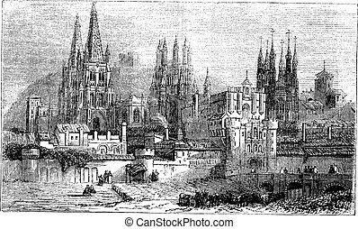 Burgos, city, Spain, vintage engraving.