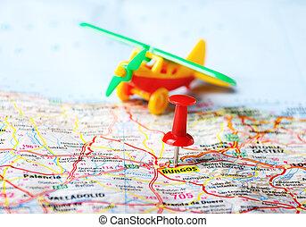 burgos, karta, airplane
