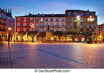 Burgos Plaza Mayor square at sunset in Spain - Burgos Plaza...