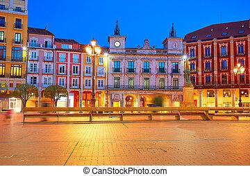 Burgos Plaza Mayor square at sunset in Spain
