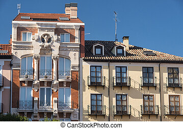 Burgos (Spain): historic buildings in Plaza Mayor