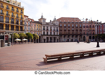 Burgos square - Empty in the city of Burgos, Spain