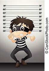 Burgular taking a mugshot illustration