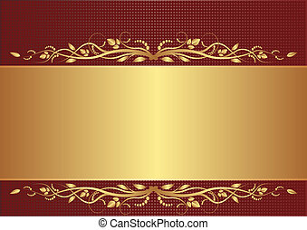burgundy and gold background with floral ornaments