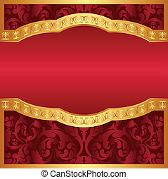 burgundy and gold background with floral ornaments and copy space