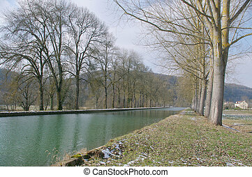 Burgundy Canal in winter - The first work began in 1777 on ...