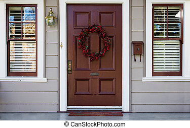 Burgundy door and 2 windows - Home burgundy door with wreath...