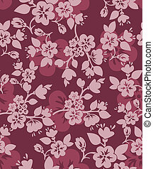 Burgundy floral background - burgundy seamless background...