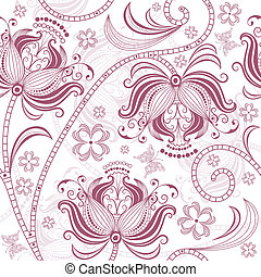 Burgundy seamless floral pattern - Seamless white and...