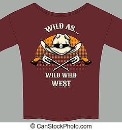 Wild West Theme Tee Shirt with Hat and Gun Graphic