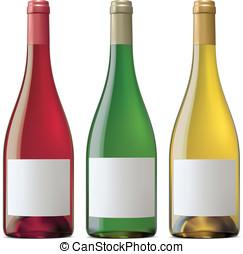 Burgundy wine bottles. Vector illustration