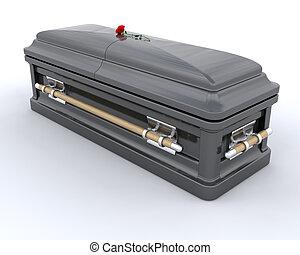 Burial Casket - 3D render of an ornate coffin