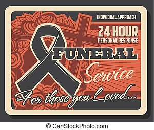 Burial ceremony and funeral service vintage poster