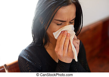 crying woman blowing nose with wipe at funeral day - burial,...