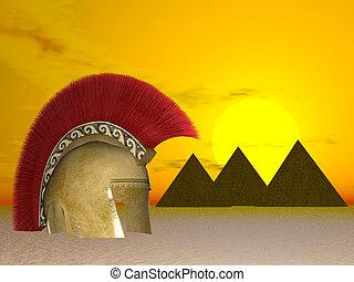 Buried Greek Helmet - Buried greek helmet in Egypt