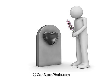 Buried love, man with bouquet by the grave - Love, valentine...
