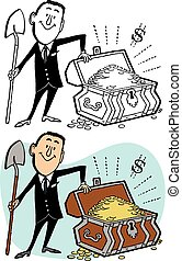 Buried Treasure - A businessman digs up a chest of buried...