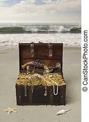 Open treausre chest on a deserted beach