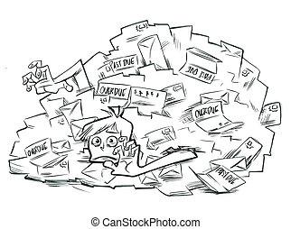 Buried Under Bills - A man lies buried under a pile of...