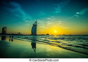 burj al árabe, é, um, luxo, 5, estrelas, hotel