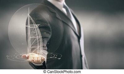 Burj al-Arab Businessman holding in Hand Landmark New technologies