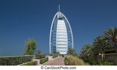 Burj Al Arab, considered the world's most luxurious hotel timelapse hyperlapse. Dubai, UAE.