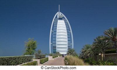 Burj Al Arab, considered the world's most luxurious hotel timelapse hyperlapse. Dubai, UAE.