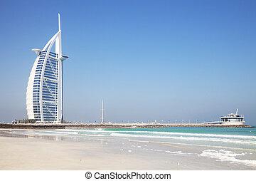 Image of a unique iconic building, the Burj Al Arab at Dubai, United Arab Emirates.