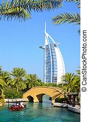 View at hotel Burj al Arab from Madinat Jumeirah in Dubai, UAE