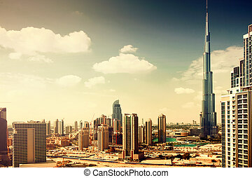 Burj Dubai - tallest building in the world, at 828m. Dubai,...
