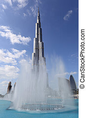 Burj Khalifa and the Fountain in Dubai, United Arab Emirates
