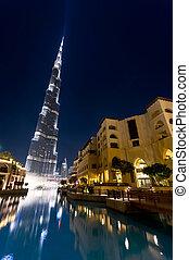burj Khalifa, Dubai, look through the pool and fountain