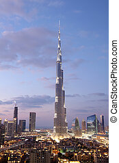Burj Khalifa illuminated at dusk. Dubai, United Arab ...