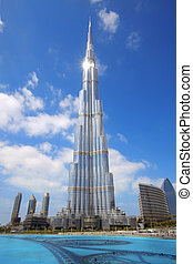 Burj Khalifa in Dubai. The tallest building in the world, at 828m.