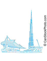 Burj Khalifa Tower (Dubai) and Ataturk Stadium (Istanbul)