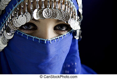 burka - middle eastern culture: belly dancer with ...