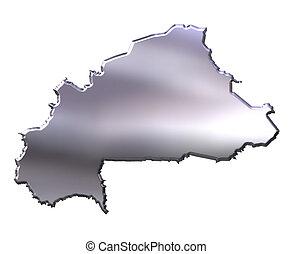 Burkina Faso 3D Silver Map - Burkina Faso 3d silver map ...