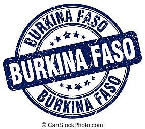 Burkina Faso blue grunge round vintage rubber stamp