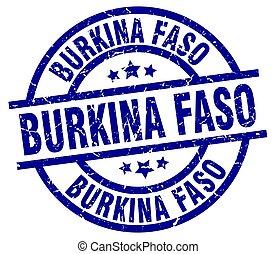 Burkina Faso blue round grunge stamp