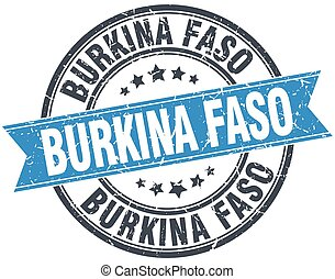 Burkina Faso blue round grunge vintage ribbon stamp
