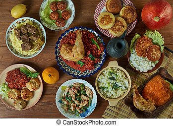 Burkina Faso cuisine, Traditional assorted African dishes, Top view.