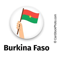 Burkina Faso flag in hand round icon
