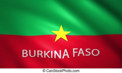 Burkina Faso flag moving slightly in the wind with the country name text