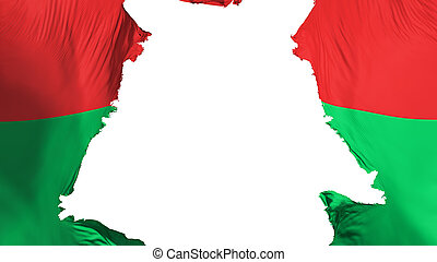 Burkina Faso flag ripped apart, white background, 3d ...