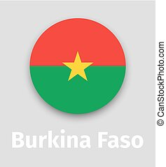 Burkina Faso flag, round icon