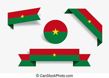 Burkina Faso flag stickers and labels. Vector illustration...