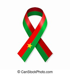 Burkina Faso flag stripe ribbon on white background. Vector ...