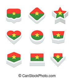 burkina faso flags icons and button set nine styles